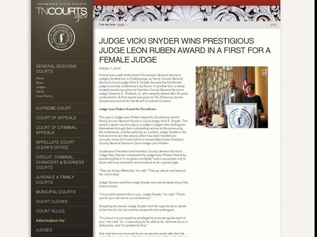 Judge Vicki Snyder Wins Prestigious Judge Leon Ruben Award in a First for a Female Judge