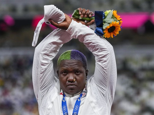 US Medalist Raven Saunders Does Protest Gesture at Podium