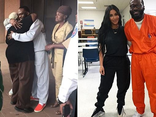 Moment inmate championed by Kim Kardashian walks free from prison after 23 years