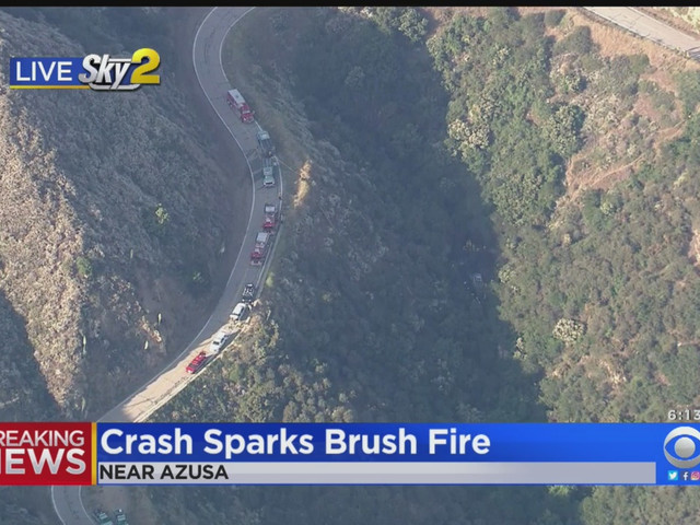 Car Plunges 100 Feet Off Road, Starts Fire In Angeles National Forest