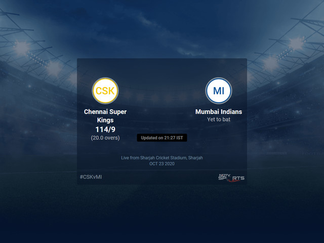 Chennai Super Kings vs Mumbai Indians Live Score Ball by Ball, IPL 2020 Live Cricket Score Of Today's Match on NDTV Sports