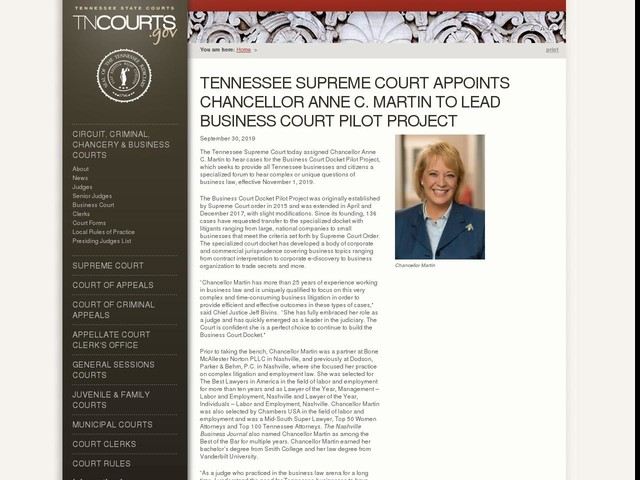 Tennessee Supreme Court Appoints Chancellor Anne C. Martin To Lead Business Court Pilot Project