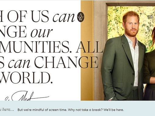 Meghan Markle and Prince Harry warn readers of their Archewell website to take a screen break