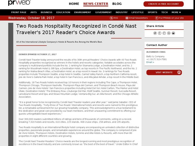 Two Roads Hospitality Recognized in Condé Nast Traveler's...