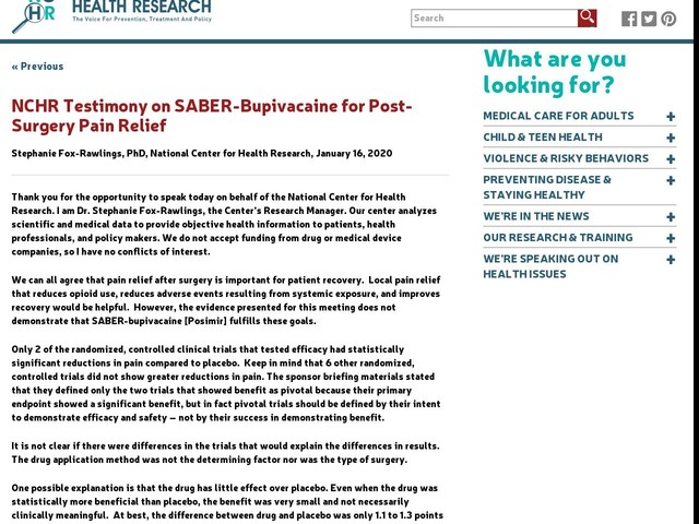 NCHR Testimony on SABER-Bupivacaine for Post-Surgery Pain Relief