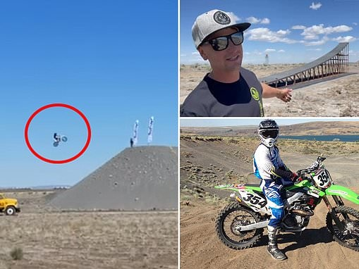 Shocking moment daredevil Alex Harvill, 28, crashes during world record practice jump and dies