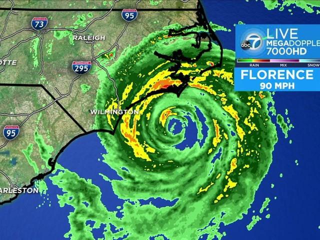 Hurricane Florence makes landfall in North Carolina; 90-mph winds rip apart buildings