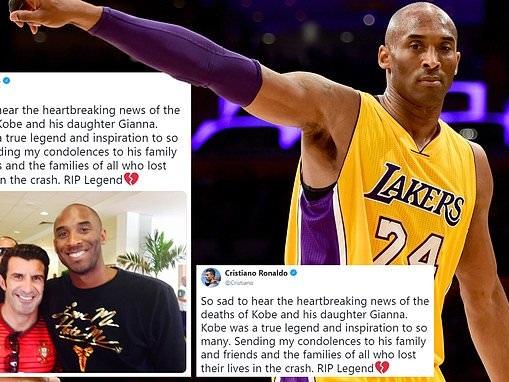 Luis Figo and Cristiano Ronaldo post exact same heartfelt condolence message to Kobe Bryant