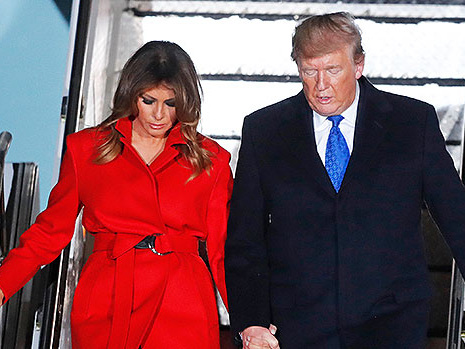 Melania Trump Struggles To Keep Skirt From Flying Up & Having Wardrobe Malfunction As She Arrives In Florida — Watch