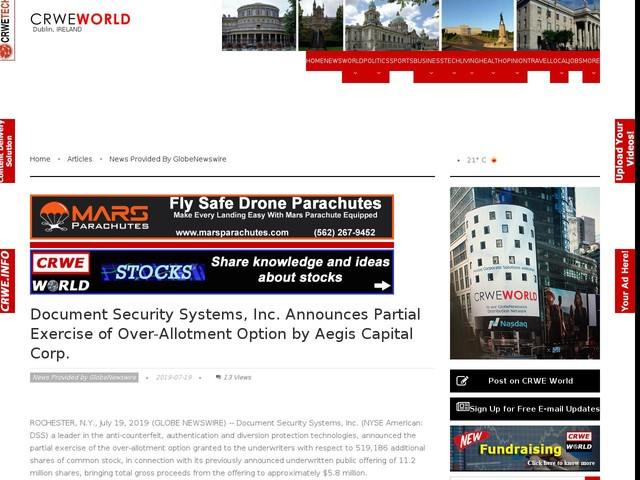 Document Security Systems, Inc. Announces Partial Exercise of Over-Allotment Option by Aegis Capital Corp.