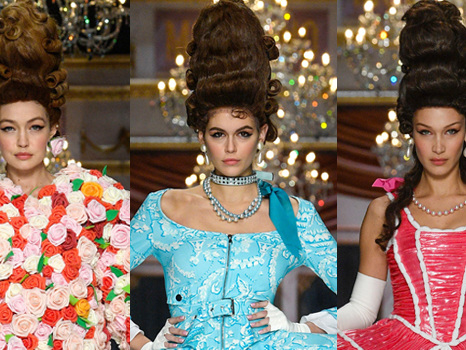Gigi Hadid, Kaia Gerber & Bella Hadid Walk The Runway In Quirky Dresses At Moschino's MFW Show