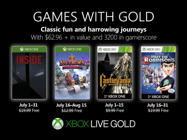 Xbox free Games with Gold for July 2019