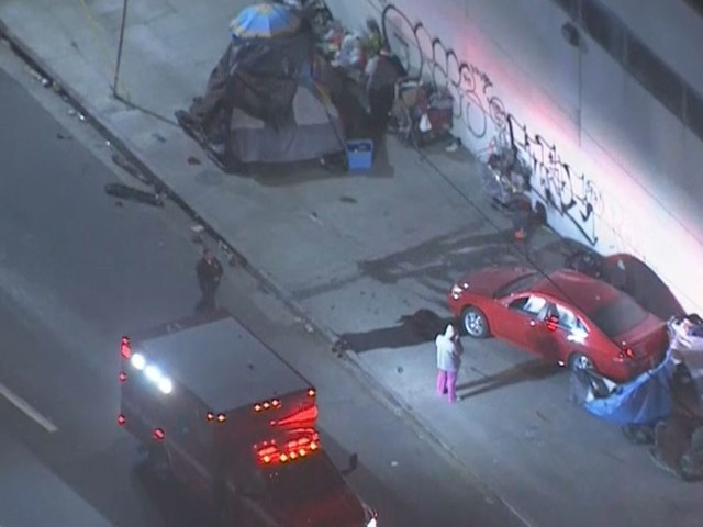 Car Slams Into Homeless Encampment In Downtown LA, Driver Flees Scene On Foot