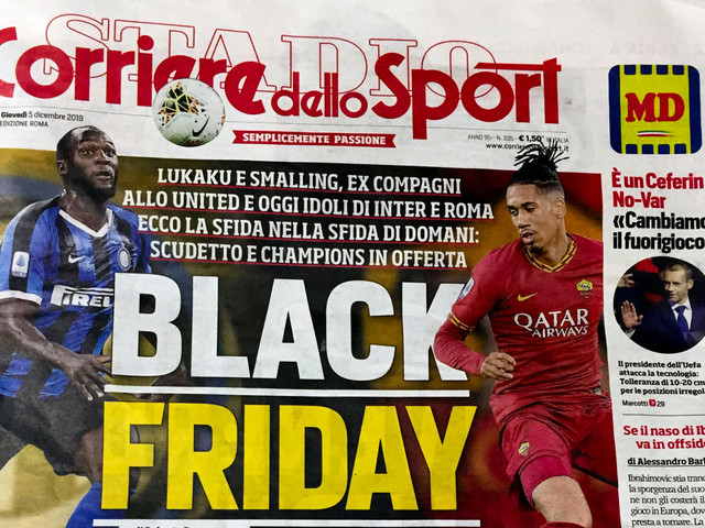 Italian sports newspaper accused of racism over Black Friday headline