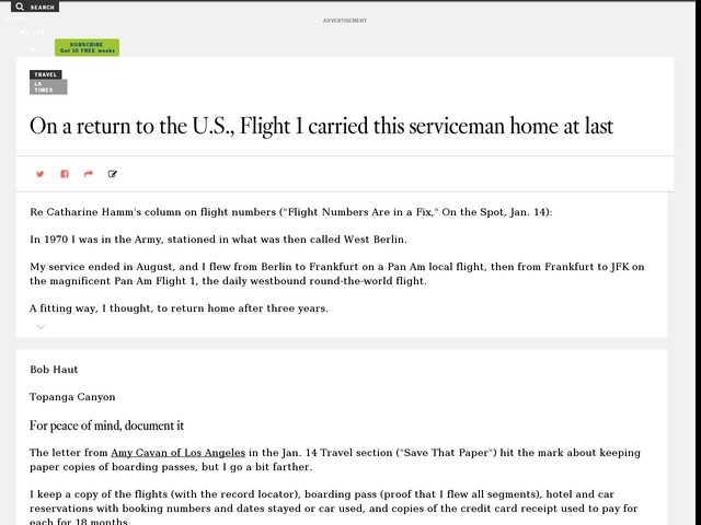 On a return to the U.S., Flight 1 carried this serviceman home at last