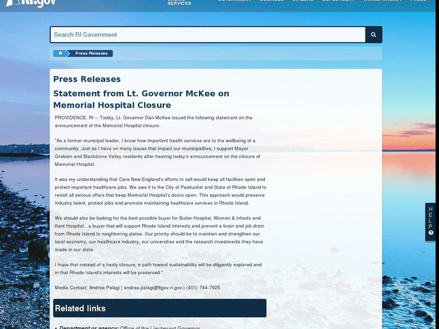 Statement from Lt. Governor McKee on Memorial Hospital Closure
