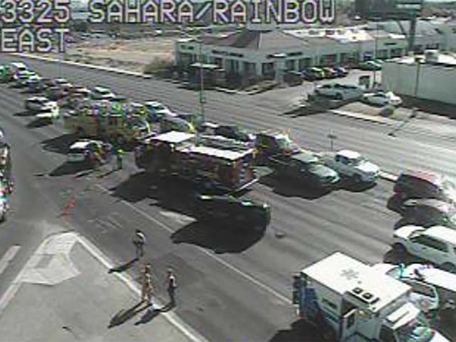 SUV catches fire after crash on Sahara Avenue in Las Vegas
