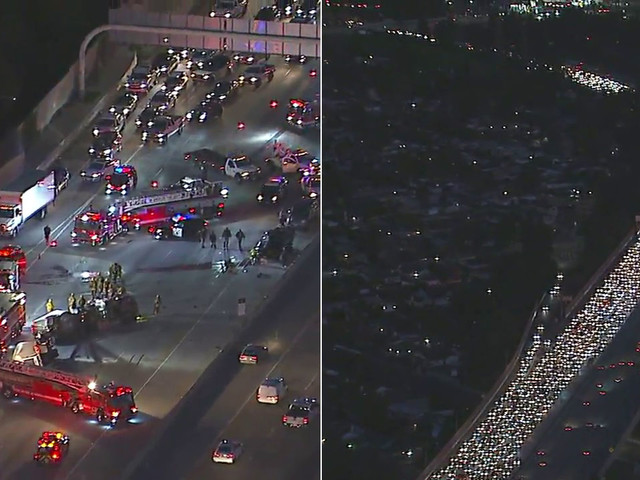 EB 118 Freeway closed in Granada Hills due to big rig crash