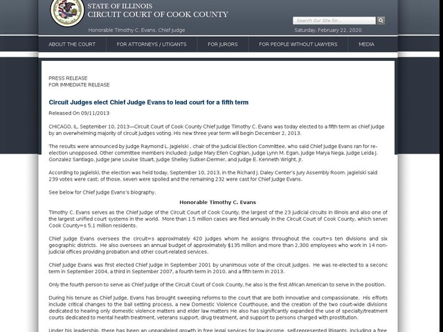 Circuit Judges elect Chief Judge Evans to lead court for a fifth term