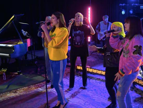 "Dua Lipa Performs ""IDGAF"" With Charli XCX, MØ, Alma & Zara Larsson"