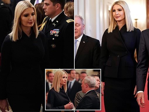 Ivanka Trump looks somber as she watches the president unveil his Middle East peace plan