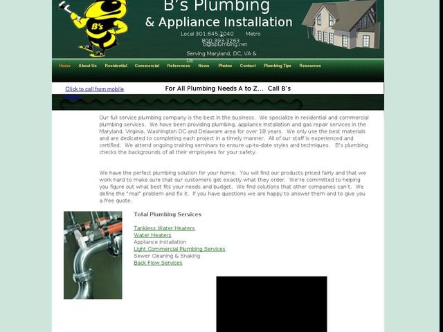 B's Plumbing & Appliance Installation & Appliance Installation