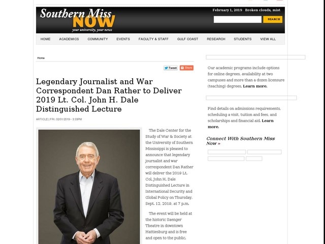 Legendary Journalist and War Correspondent Dan Rather to Deliver 2019 Lt. Col. John H. Dale Distinguished Lecture