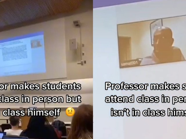 Professor allegedly requires in-person attendance but doesn't show up himself, sparking debate