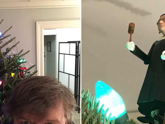 Michael Moore tops Christmas tree with Ruth Bader Ginsburg doll. Twitter's response is priceless.