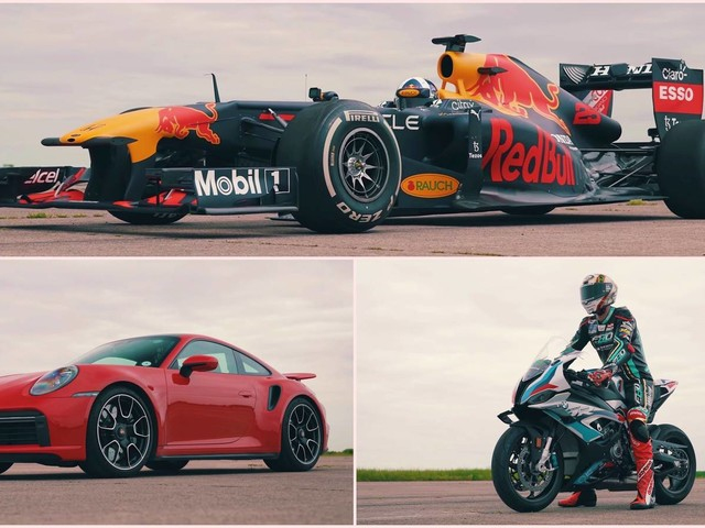 Watch a Porsche 911 Turbo S Take on a BMW M1000 RR and an F1 Car!