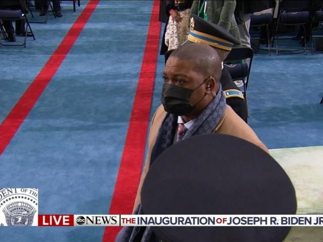 Capitol police officer hailed hero during riot accompanies Kamala Harris at inauguration