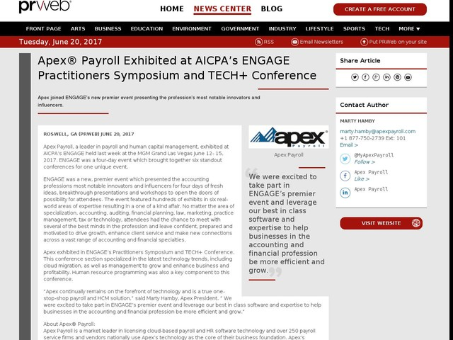 Apex® Payroll Exhibited at AICPA's ENGAGE Practitioners Symposium...