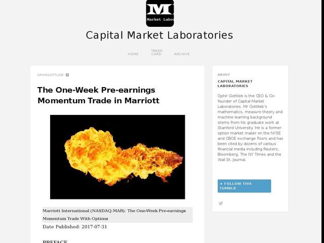 The One-Week Pre-earnings Momentum Trade in Marriott