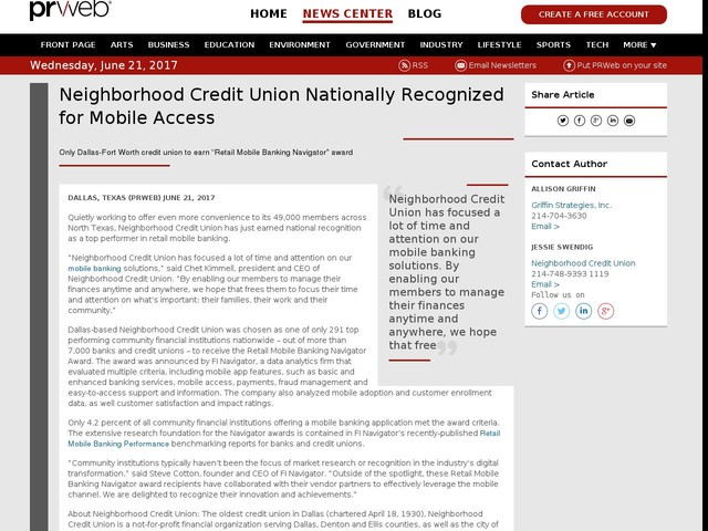 Neighborhood Credit Union Nationally Recognized for Mobile Access