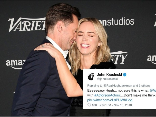 Hugh Jackman Cozied Up With Emily Blunt, and You Better Believe John Krasinski Roasted Him
