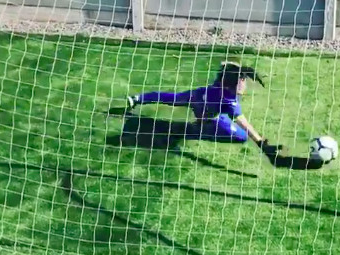 This kid found the perfect way to practice soccer during social distancing