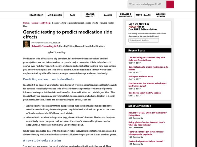 Genetic testing to predict medication side effects