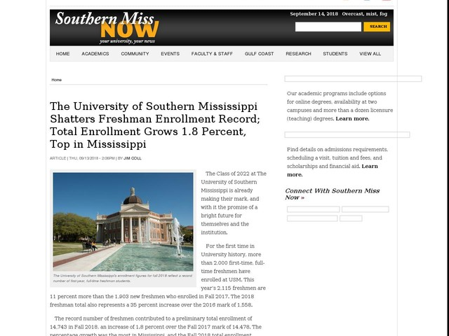 The University of Southern Mississippi Shatters Freshman Enrollment Record; Total Enrollment Grows 1.8 Percent, Top in Mississippi