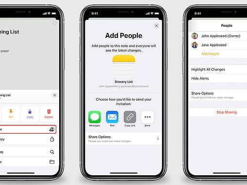 iPhone feature that allows you to share shopping list in Notes app with the whole family