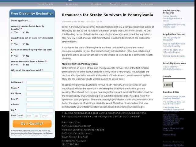 Resources for Stroke Survivors in Pennsylvania