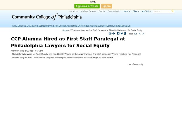 CCP Alumna Hired as First Staff Paralegal at Philadelphia Lawyers for Social Equity