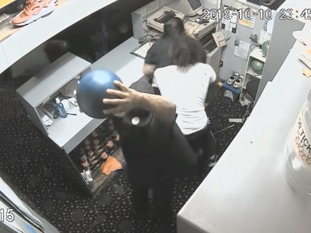 Man smashes bowling ball into employee's head after he was told to leave, video shows