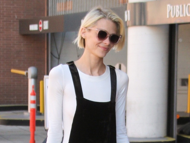 Jaime King Keeps It Chic in Black Overalls While Running Errands