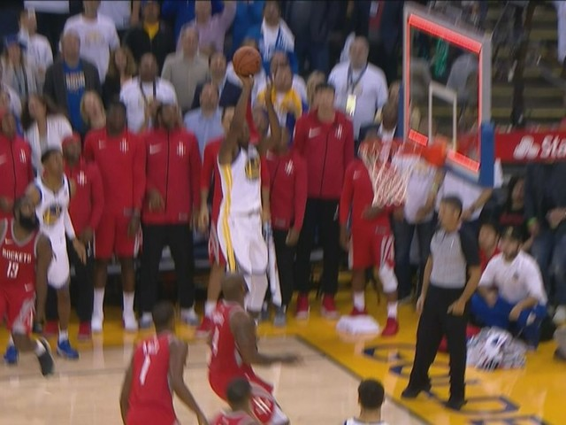 Kevin Durant hit a shot at the buzzer to beat the Rockets but it didn't count