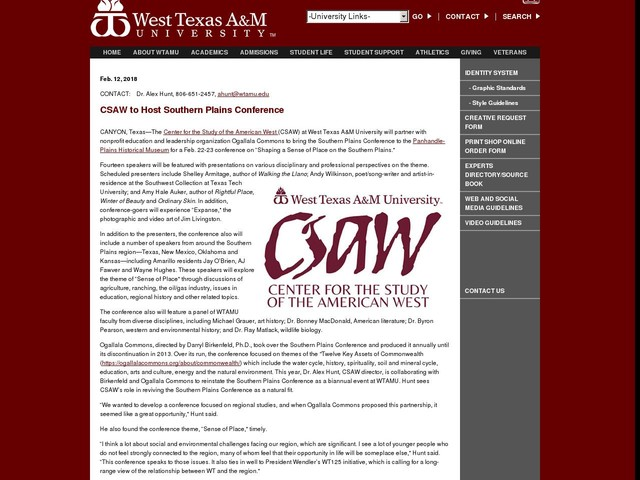 CSAW to Host Southern Plains Conference