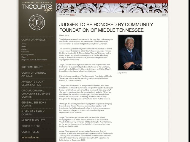 Judges to be Honored by Community Foundation of Middle Tennessee