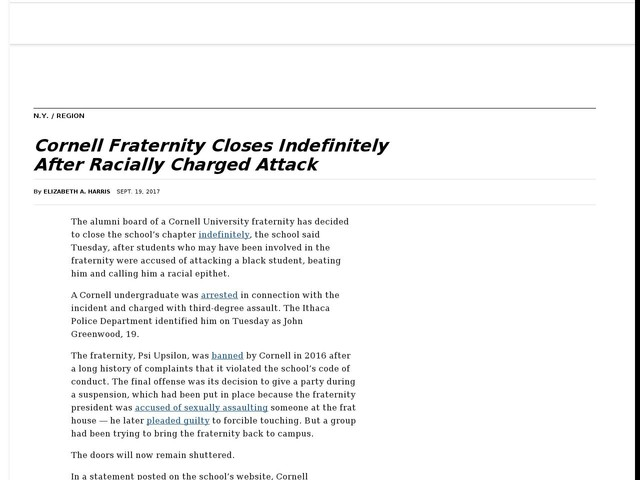 Cornell Fraternity Closes Indefinitely After Racially Charged Attack