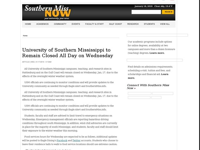 University of Southern Mississippi to Remain Closed All Day on Wednesday