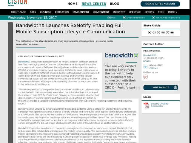 BandwidthX Launches BxNotify Enabling Full Mobile Subscription...