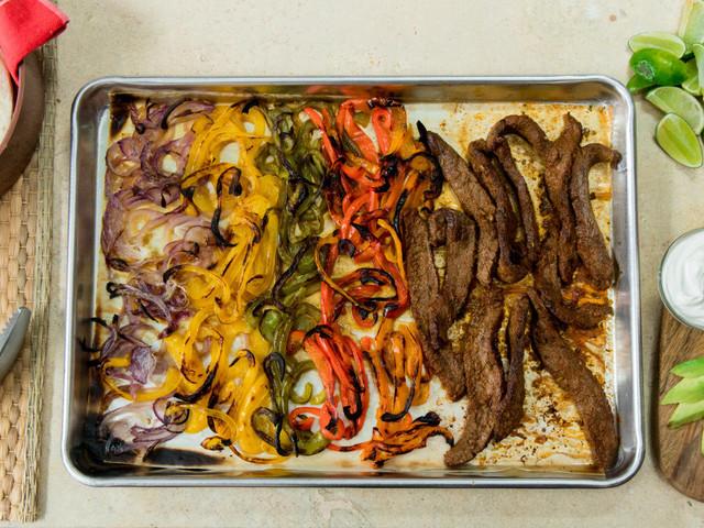 This sheet pan steak fajita recipe is ridiculously easy